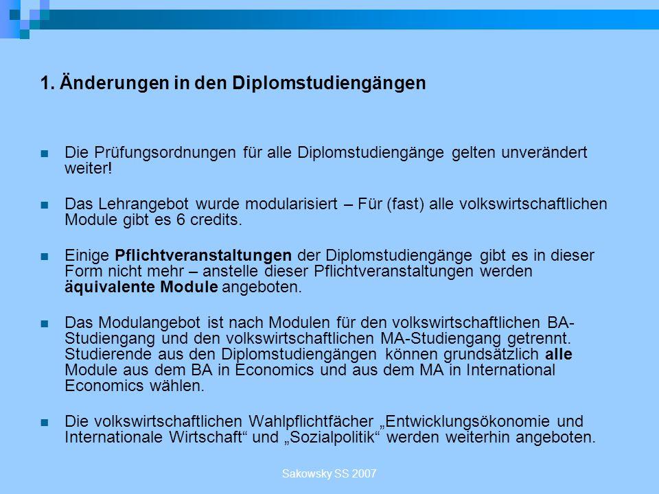 Sakowsky SS 2007 Die Professuren des Volkswirtschaftlichen Seminars Prof.