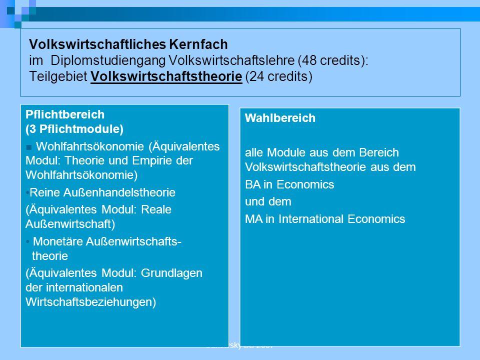 Sakowsky SS 2007 Volkswirtschaftliches Kernfach im Diplomstudiengang Volkswirtschaftslehre (48 credits): Teilgebiet Volkswirtschaftstheorie (24 credit