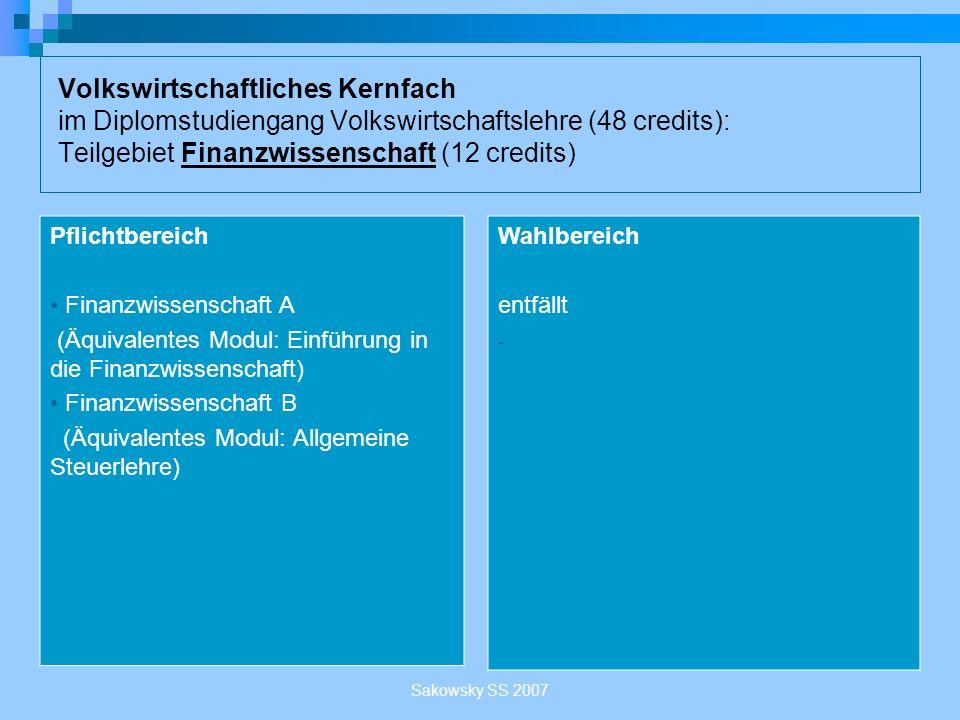 Sakowsky SS 2007 Volkswirtschaftliches Kernfach im Diplomstudiengang Volkswirtschaftslehre (48 credits): Teilgebiet Finanzwissenschaft (12 credits) Pf
