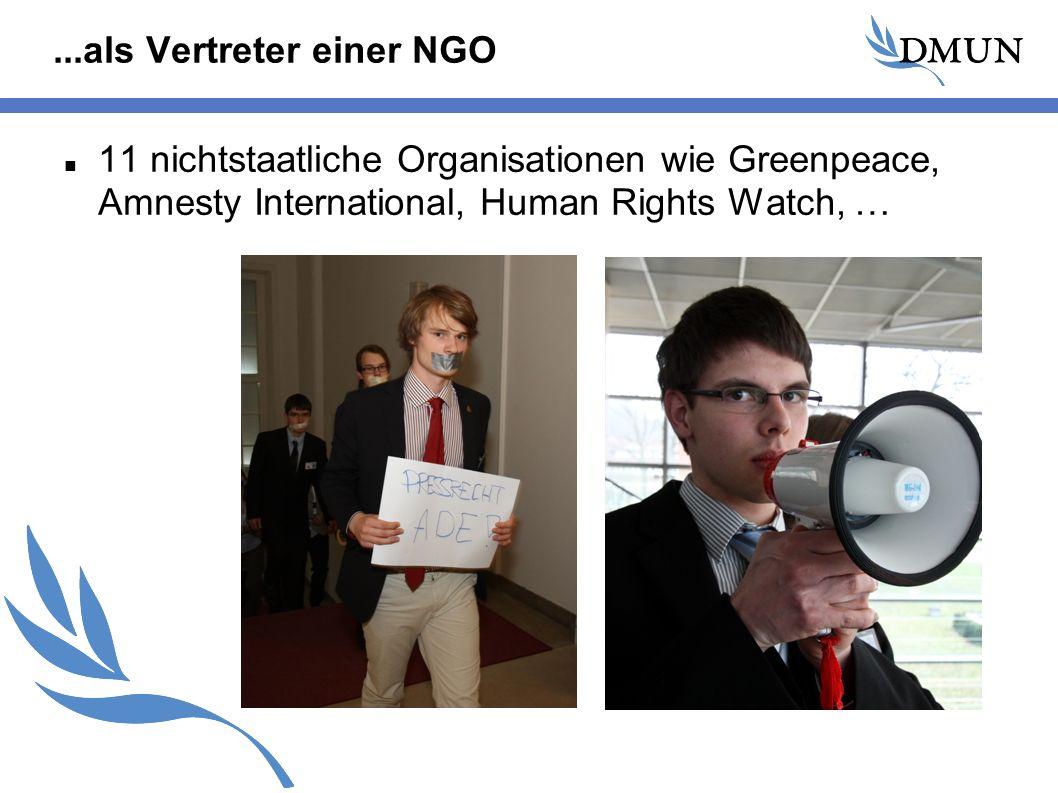 ...als Vertreter einer NGO 11 nichtstaatliche Organisationen wie Greenpeace, Amnesty International, Human Rights Watch, …