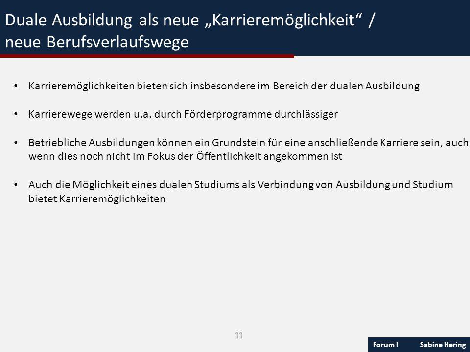 Forum I Sabine Hering 11 Duale Ausbildung als neue Karrieremöglichkeit / neue Berufsverlaufswege Karrieremöglichkeiten bieten sich insbesondere im Ber