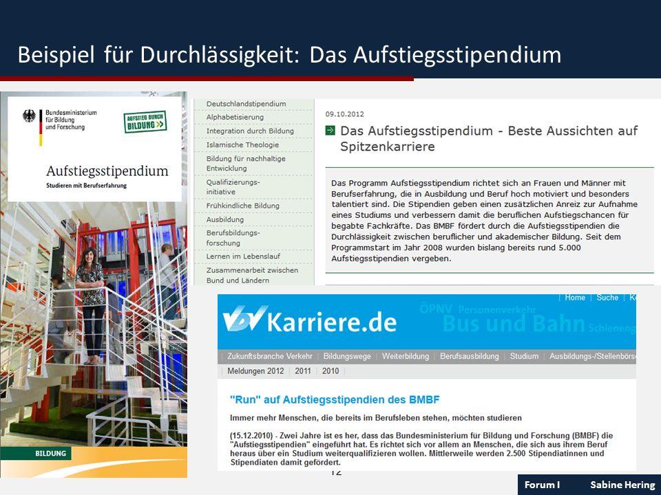 Forum I Sabine Hering 12 Beispiel für Durchlässigkeit: Das Aufstiegsstipendium