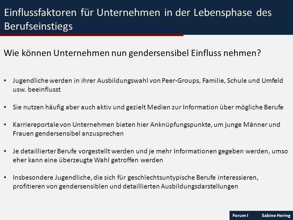 Forum I Sabine Hering Einflussfaktoren für Unternehmen in der Lebensphase des Berufseinstiegs Wie können Unternehmen nun gendersensibel Einfluss nehme