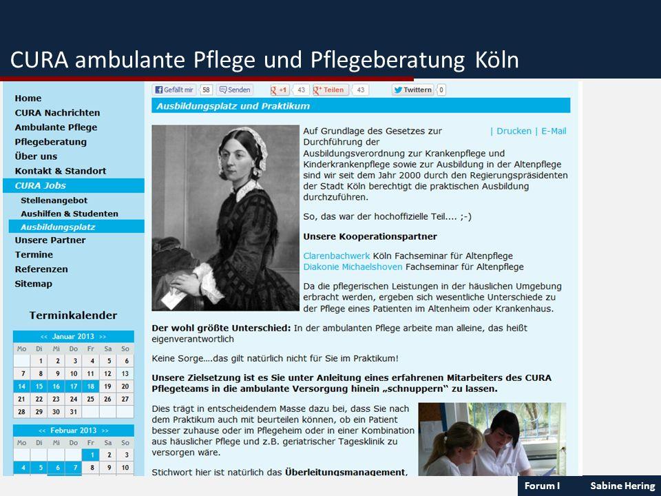 Forum I Sabine Hering CURA ambulante Pflege und Pflegeberatung Köln