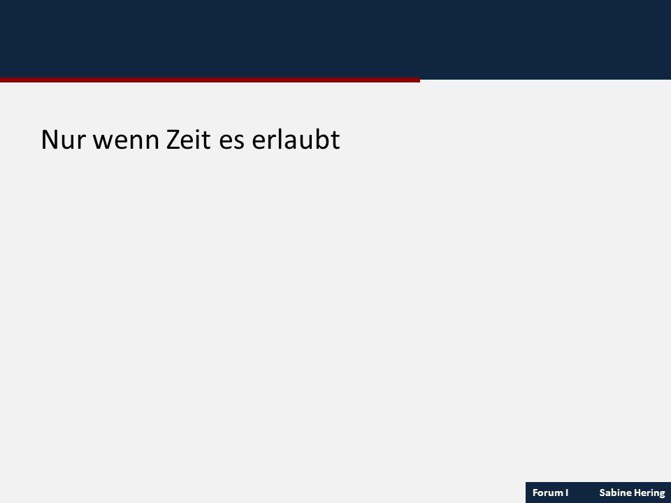 Forum I Sabine Hering Nur wenn Zeit es erlaubt