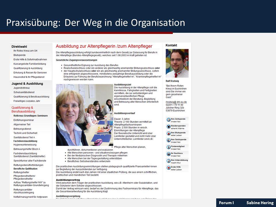 Forum I Sabine Hering Praxisübung: Der Weg in die Organisation