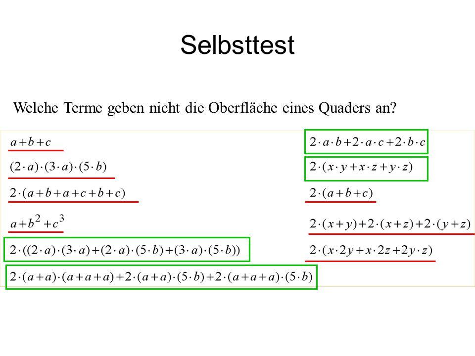 IQSH Selbsttest Welche Terme geben nicht die Oberfläche eines Quaders an?