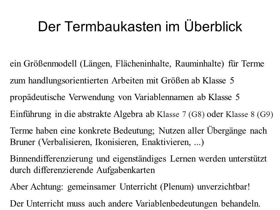 IQSH a ist die Länge des schwarzen Trinkhalms, a = 12,5 cm b ist die Länge des blauen Trinkhalms, b = 5 cm c ist die Länge des schwarzen Trinkhalms, c = 7,5 cm y ist die Länge des grünen Trinkhalms, y = 10 cm x ist die Länge des roten Trinkhalms, x = 15 cm Generell liegt die Ursache vieler Probleme im Umgang mit Termen in einer fehlenden oder unsauberen Definition der Variablenbedeutung.