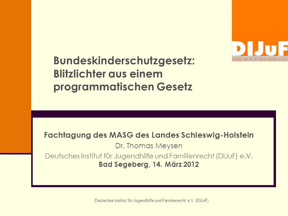 Deutsches Institut für Jugendhilfe und Familienrecht e.V. (DIJuF) Bundeskinderschutzgesetz: Blitzlichter aus einem programmatischen Gesetz Fachtagung