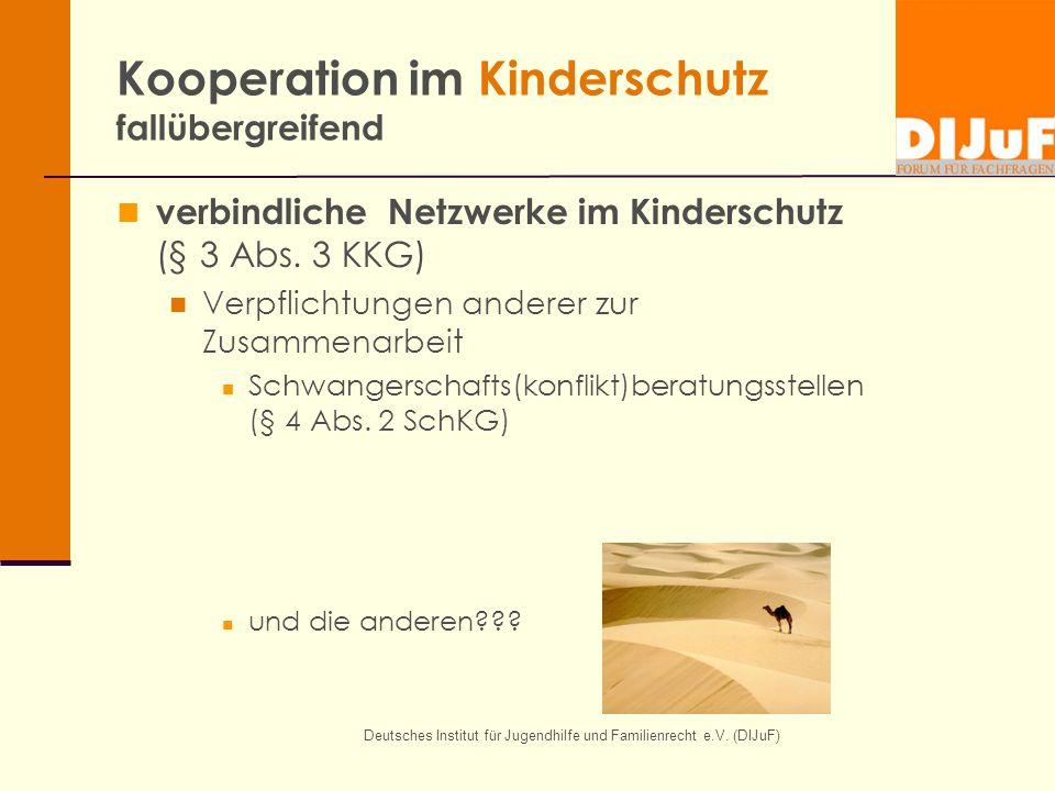 Deutsches Institut für Jugendhilfe und Familienrecht e.V. (DIJuF) Kooperation im Kinderschutz fallübergreifend verbindliche Netzwerke im Kinderschutz