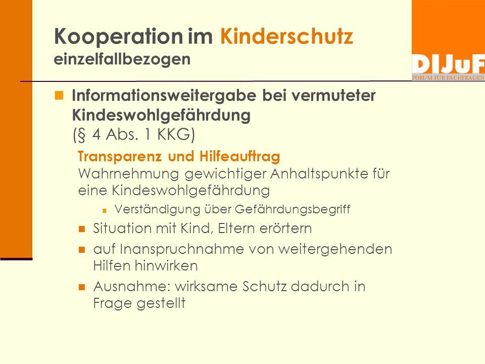 Kooperation im Kinderschutz einzelfallbezogen Informationsweitergabe bei vermuteter Kindeswohlgefährdung (§ 4 Abs. 1 KKG) Transparenz und Hilfeauftrag