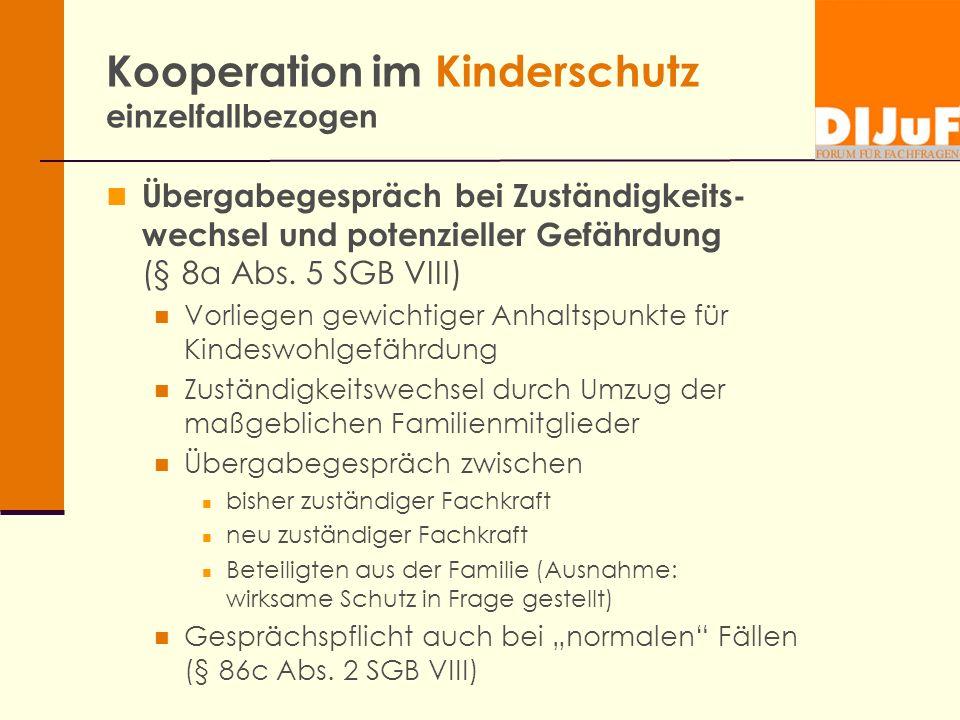 Kooperation im Kinderschutz einzelfallbezogen Übergabegespräch bei Zuständigkeits- wechsel und potenzieller Gefährdung (§ 8a Abs. 5 SGB VIII) Vorliege