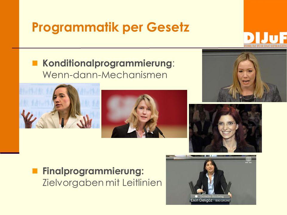 Programmatik per Gesetz Konditionalprogrammierung : Wenn-dann-Mechanismen Finalprogrammierung: Zielvorgaben mit Leitlinien