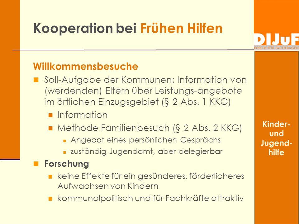 Kooperation bei Frühen Hilfen Willkommensbesuche Soll-Aufgabe der Kommunen: Information von (werdenden) Eltern über Leistungs-angebote im örtlichen Ei