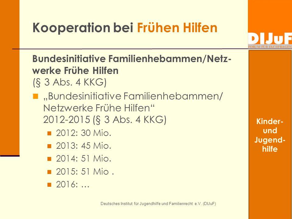 Deutsches Institut für Jugendhilfe und Familienrecht e.V. (DIJuF) Kooperation bei Frühen Hilfen Bundesinitiative Familienhebammen/Netz- werke Frühe Hi