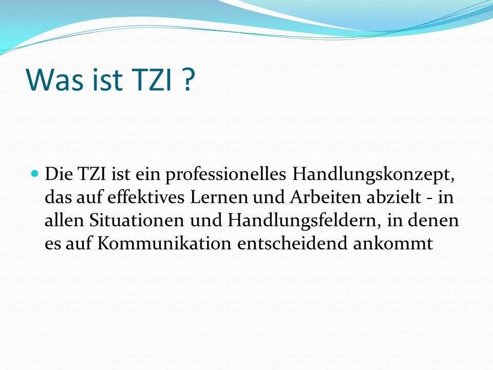 Was ist TZI ? Die TZI ist ein professionelles Handlungskonzept, das auf effektives Lernen und Arbeiten abzielt - in allen Situationen und Handlungsfel