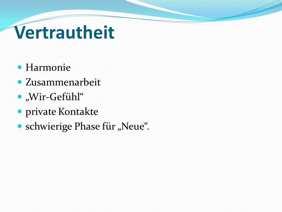 Vertrautheit Harmonie Zusammenarbeit Wir-Gefühl private Kontakte schwierige Phase für Neue.