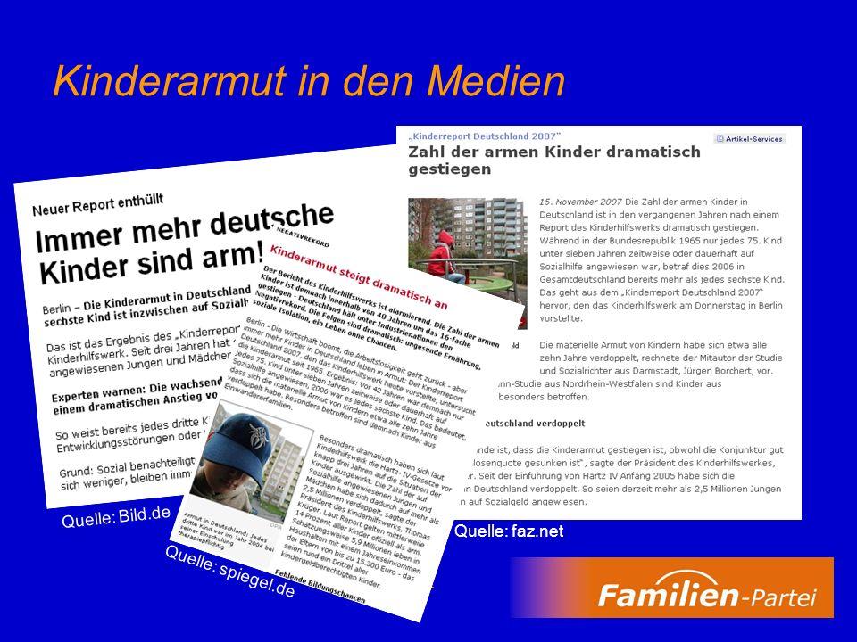3 Kinderreport Deutschland 2007 herausgegeben vom Deutschen Kinderhilfswerk Materielle Armut von Kindern verdoppelt sich alle zehn Jahre –1965: jedes 75.