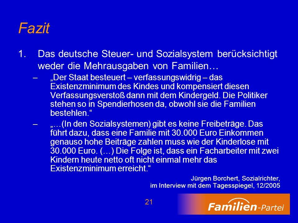21 Fazit 1.Das deutsche Steuer- und Sozialsystem berücksichtigt weder die Mehrausgaben von Familien… –Der Staat besteuert – verfassungswidrig – das Ex