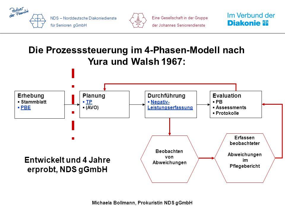 Die Prozesssteuerung im 4-Phasen-Modell nach Yura und Walsh 1967: Entwickelt und 4 Jahre erprobt, NDS gGmbH Durchführung Negativ- Leistungserfassung E