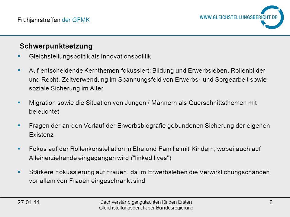 27.01.11 Sachverständigengutachten für den Ersten Gleichstellungsbericht der Bundesregierung 17 Weitere Informationen Dr.