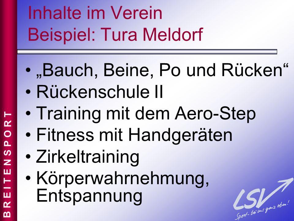 Inhalte im Verein Beispiel: Tura Meldorf Bauch, Beine, Po und Rücken Rückenschule II Training mit dem Aero-Step Fitness mit Handgeräten Zirkeltraining