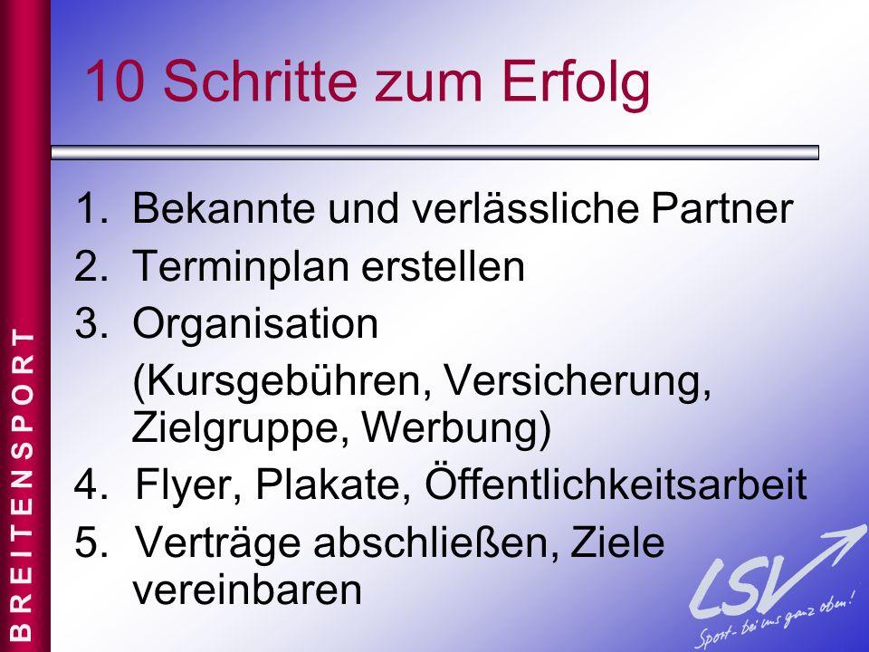 10 Schritte zum Erfolg 1.Bekannte und verlässliche Partner 2.Terminplan erstellen 3.Organisation (Kursgebühren, Versicherung, Zielgruppe, Werbung) 4.