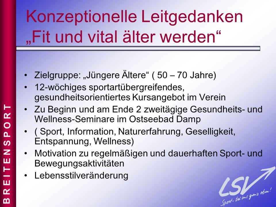 Konzeptionelle Leitgedanken Fit und vital älter werden Zielgruppe: Jüngere Ältere ( 50 – 70 Jahre) 12-wöchiges sportartübergreifendes, gesundheitsorie