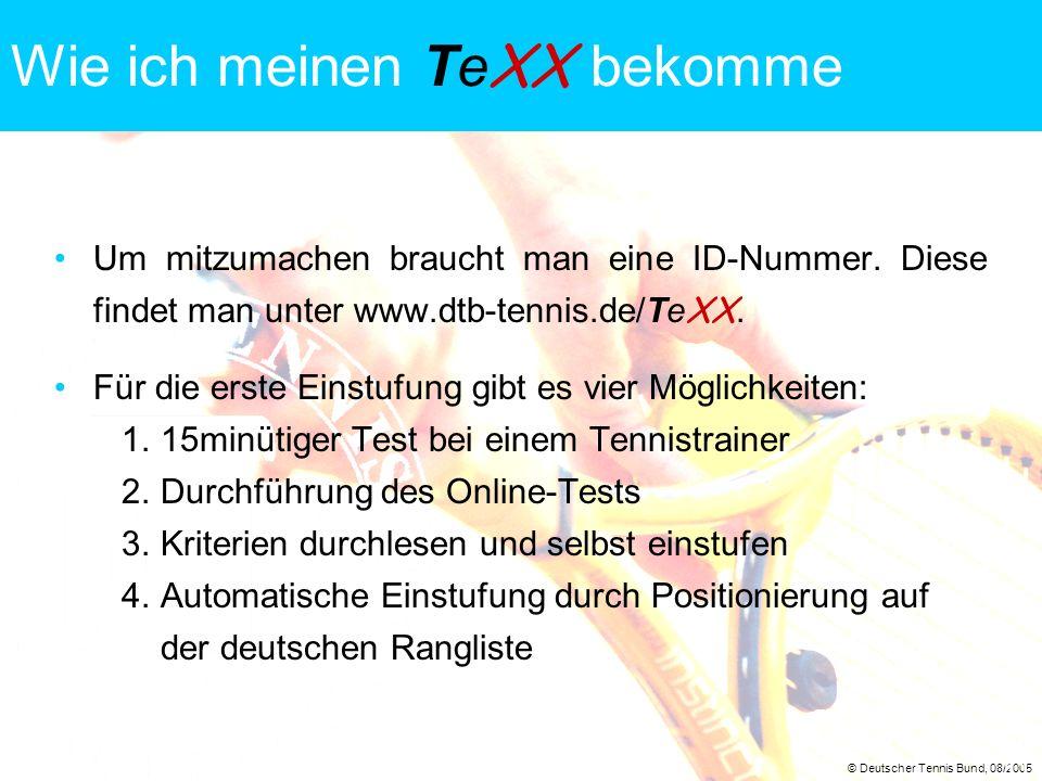 © Deutscher Tennis Bund, 08/2005 11 Wie ich meinen Te XX bekomme Um mitzumachen braucht man eine ID-Nummer. Diese findet man unter www.dtb-tennis.de/T