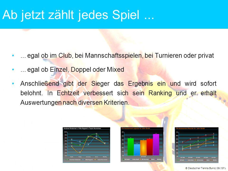 © Deutscher Tennis Bund, 08/2005 12 Ab jetzt zählt jedes Spiel...... egal ob im Club, bei Mannschaftsspielen, bei Turnieren oder privat... egal ob Ein