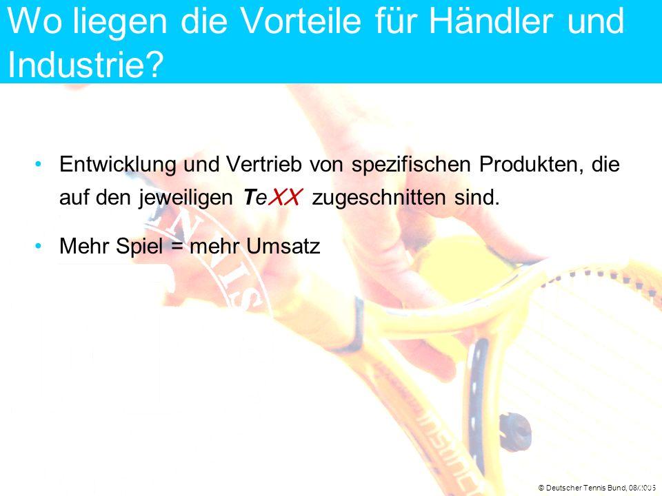 © Deutscher Tennis Bund, 08/2005 14 Wo liegen die Vorteile für Händler und Industrie? Entwicklung und Vertrieb von spezifischen Produkten, die auf den