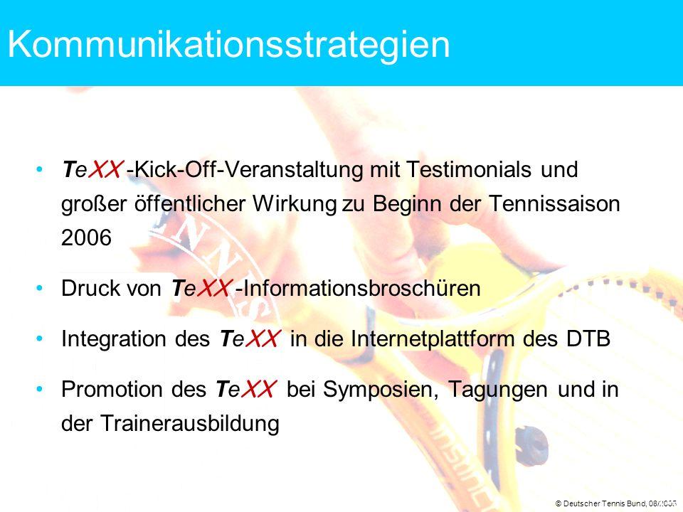 © Deutscher Tennis Bund, 08/2005 15 Kommunikationsstrategien Te XX -Kick-Off-Veranstaltung mit Testimonials und großer öffentlicher Wirkung zu Beginn