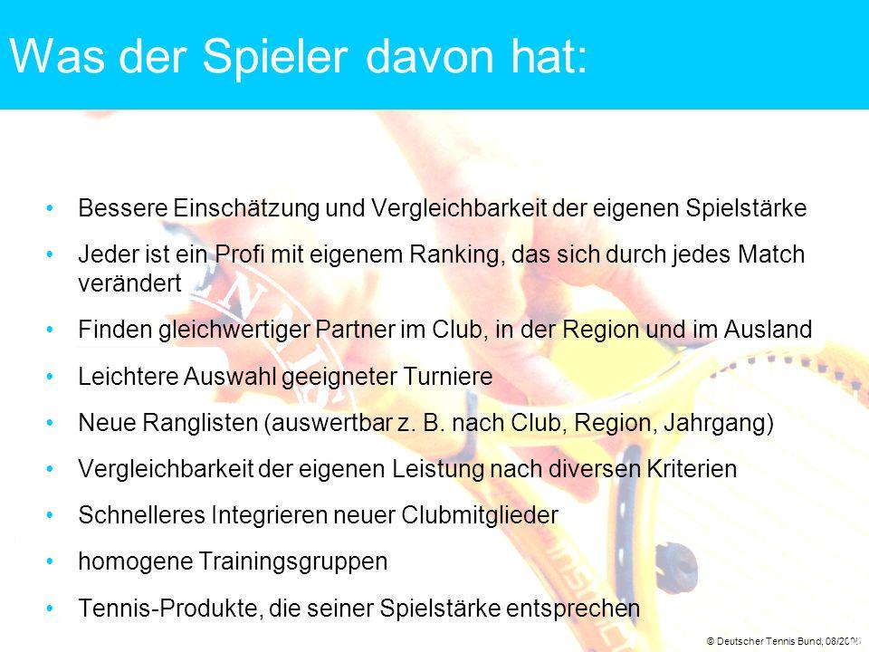 © Deutscher Tennis Bund, 08/2005 9 Was der Spieler davon hat: Bessere Einschätzung und Vergleichbarkeit der eigenen Spielstärke Jeder ist ein Profi mi