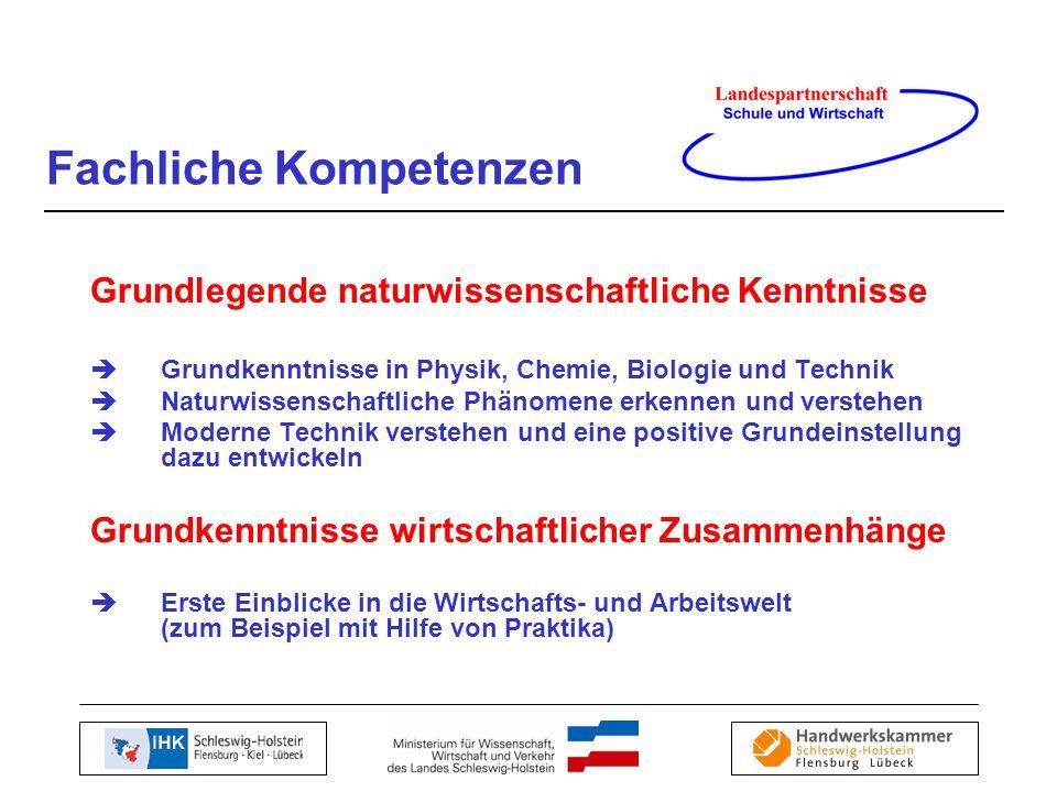 Grundlegende naturwissenschaftliche Kenntnisse Grundkenntnisse in Physik, Chemie, Biologie und Technik Naturwissenschaftliche Phänomene erkennen und v