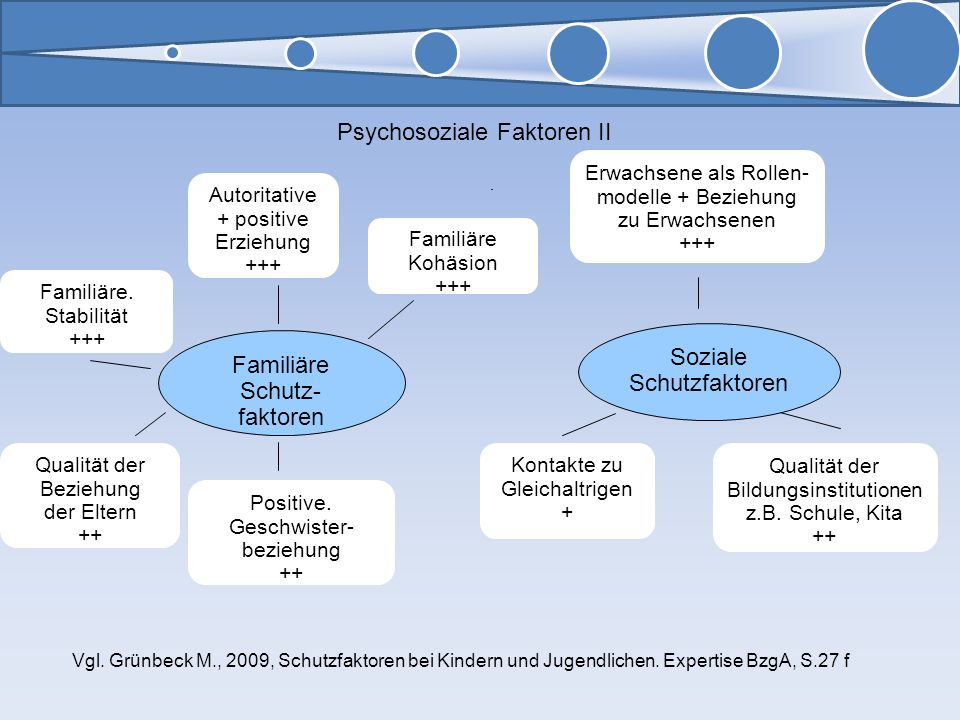 Soziale Schutzfaktoren Erwachsene als Rollen- modelle + Beziehung zu Erwachsenen +++ Qualität der Bildungsinstitutionen z.B. Schule, Kita ++ Kontakte
