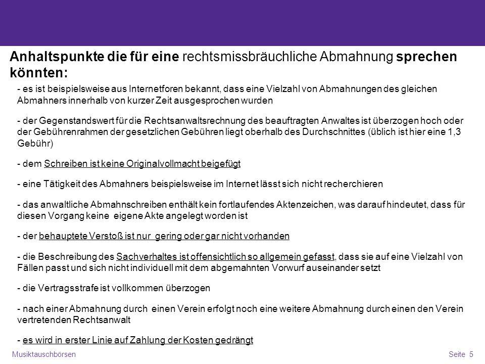 MusiktauschbörsenSeite 6 Fazit für die SB Stelle Auf Fristen achten Einzelfallbezug prüfen Sachverhalt klären, Beweisbarkeit ermitteln RA www.tauschnix.de