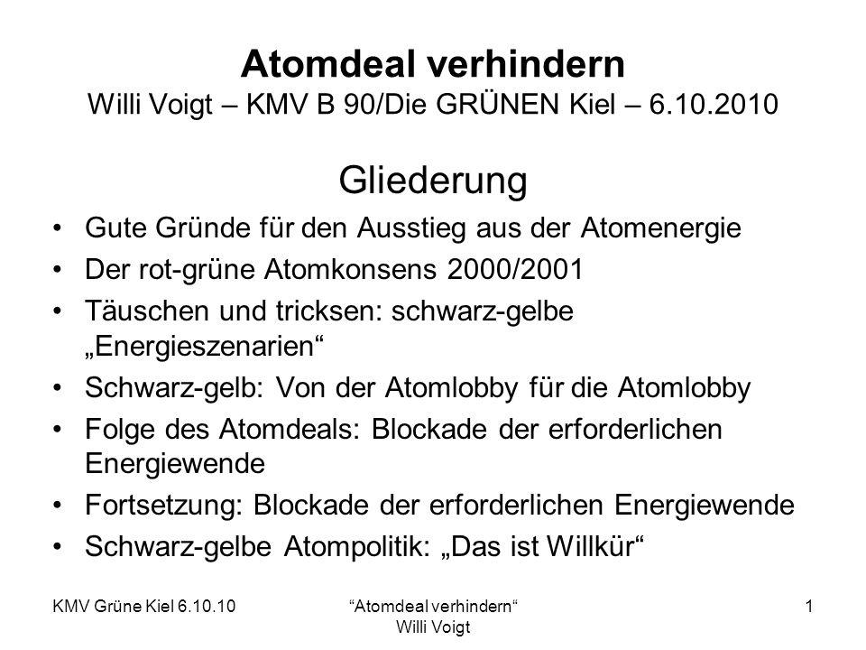 KMV Grüne Kiel 6.10.10Atomdeal verhindern Willi Voigt 2 Atomdeal verhindern Gute Gründe für den Ausstieg aus der Atomenergie Die sog.