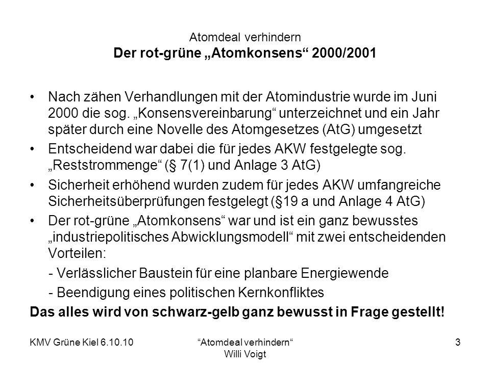 KMV Grüne Kiel 6.10.10Atomdeal verhindern Willi Voigt 4 Atomdeal verhindern Täuschen und Tricksen: Schwarz-gelbe Energieszenarien Die dreiste Behauptung: endlich und erstmalig eine revoltuionäre, langfristig verlässliche Konzeption.