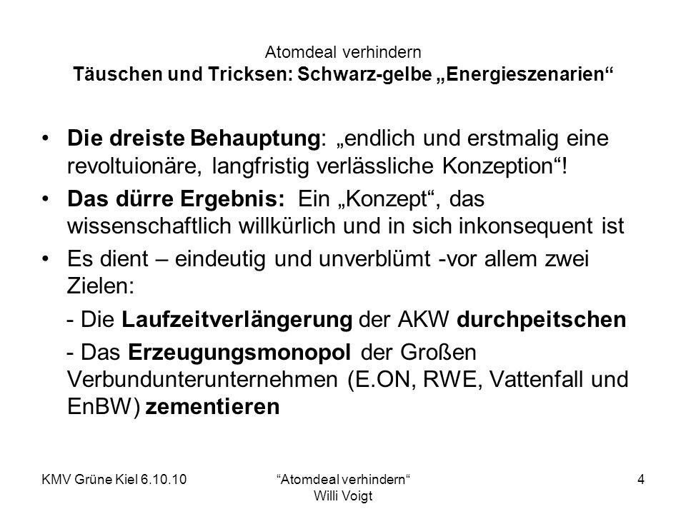 KMV Grüne Kiel 6.10.10Atomdeal verhindern Willi Voigt 5 Atomdeal verhindern Schwarz-gelb: Von der Atomlobby für die Atomlobby Gutachterliche Grundlage willkürlich Rechtliche Umsetzung fragwürdig: Diverse Stellungnahmen belegen, dass eine Bundesratsbeteiligung nötig ist wegen der Mehrbelastung der für die Atomaufsicht zuständigen Bundesländer Geheimvertrag ohne Beispiel: Term sheet aus Besprechung Bund-EVU (6.9.2010, 4.30 Uhr), von RWE ausgeplaudert Sicherheit absenkend: - das Sicherheitsniveau der bestmöglichen Vorsorge wird verwässert - Schutz gegen terroristische Flugzeugangriffe soll endgültig entfallen