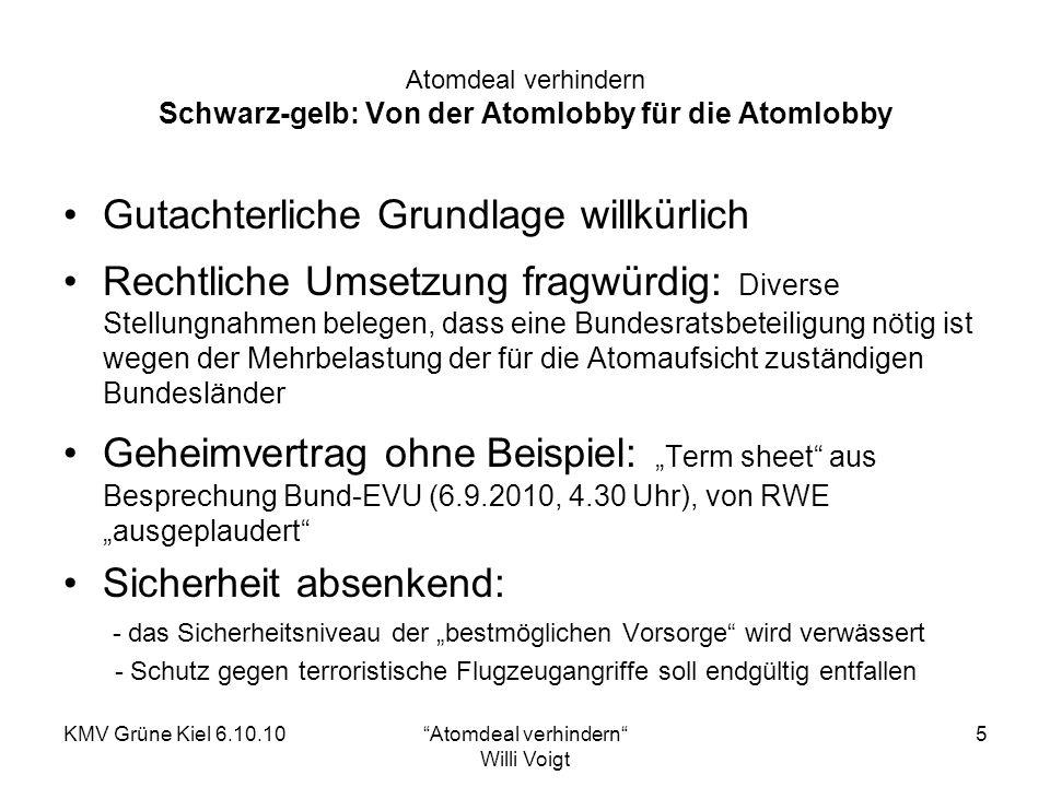 KMV Grüne Kiel 6.10.10Atomdeal verhindern Willi Voigt 6 Atomdeal verhindern Folge des Atomdeals: Blockade der erforderlichen Energiewende BWE – Präsident Hermann Albers: Mit diesen Annahmen (36.400 GW Leistung Onshore) gewährt die Bundesregierung der Windenergie an Land eine Restlaufzeit von nur 5 Jahren, denn dies erreichen wir schon 2015.