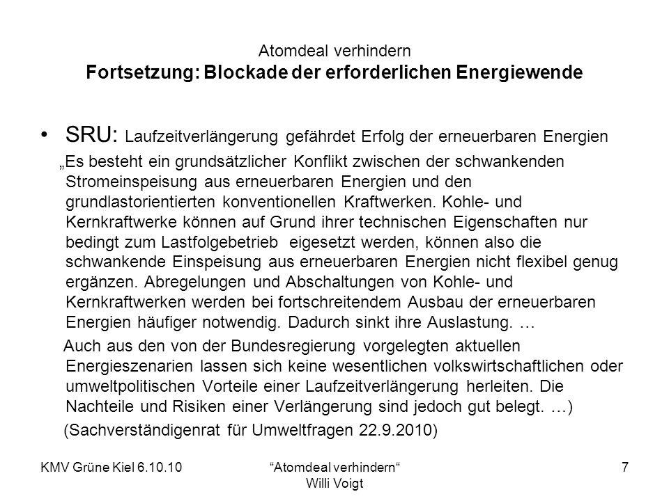 KMV Grüne Kiel 6.10.10Atomdeal verhindern Willi Voigt 8 Atomdeal verhindern Schwarz-gelbe Atompolitik: Das ist Willkür Fritz Vorholz, Energieredakteur der ZEIT, bewertet die Energiewende von schwarz-gelb unter der Überschrift Das ist Willkür wie folgt: Der politische Schaden ist in der Tat immens.