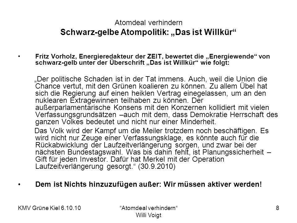 KMV Grüne Kiel 6.10.10Atomdeal verhindern Willi Voigt 8 Atomdeal verhindern Schwarz-gelbe Atompolitik: Das ist Willkür Fritz Vorholz, Energieredakteur