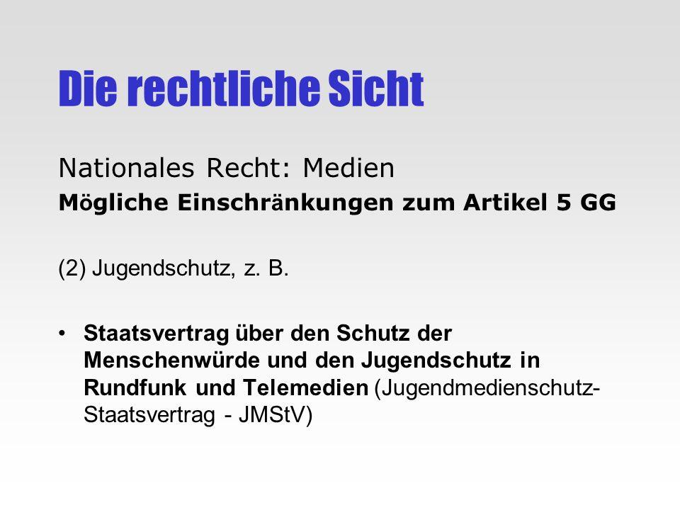 Die rechtliche Sicht Nationales Recht: Medien M ö gliche Einschr ä nkungen zum Artikel 5 GG (2) Jugendschutz, z. B. Staatsvertrag über den Schutz der