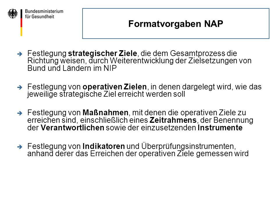 Formatvorgaben NAP è Festlegung strategischer Ziele, die dem Gesamtprozess die Richtung weisen, durch Weiterentwicklung der Zielsetzungen von Bund und