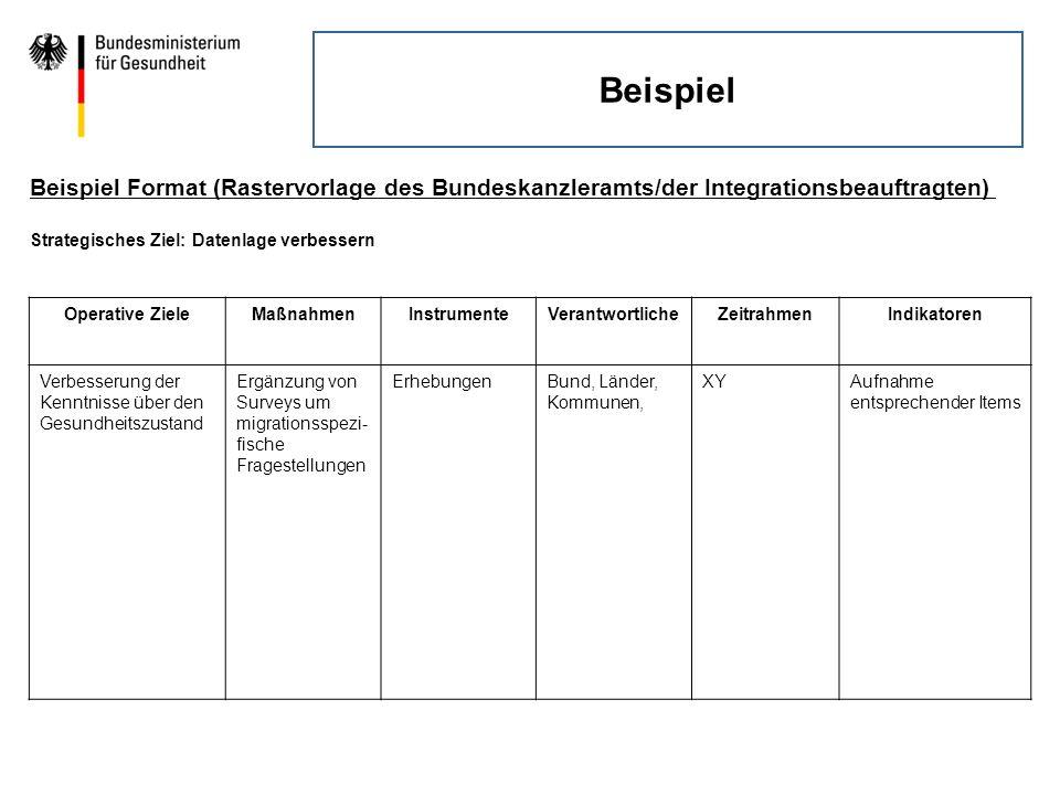 Beispiel Beispiel Format (Rastervorlage des Bundeskanzleramts/der Integrationsbeauftragten) Strategisches Ziel: Datenlage verbessern Operative ZieleMa