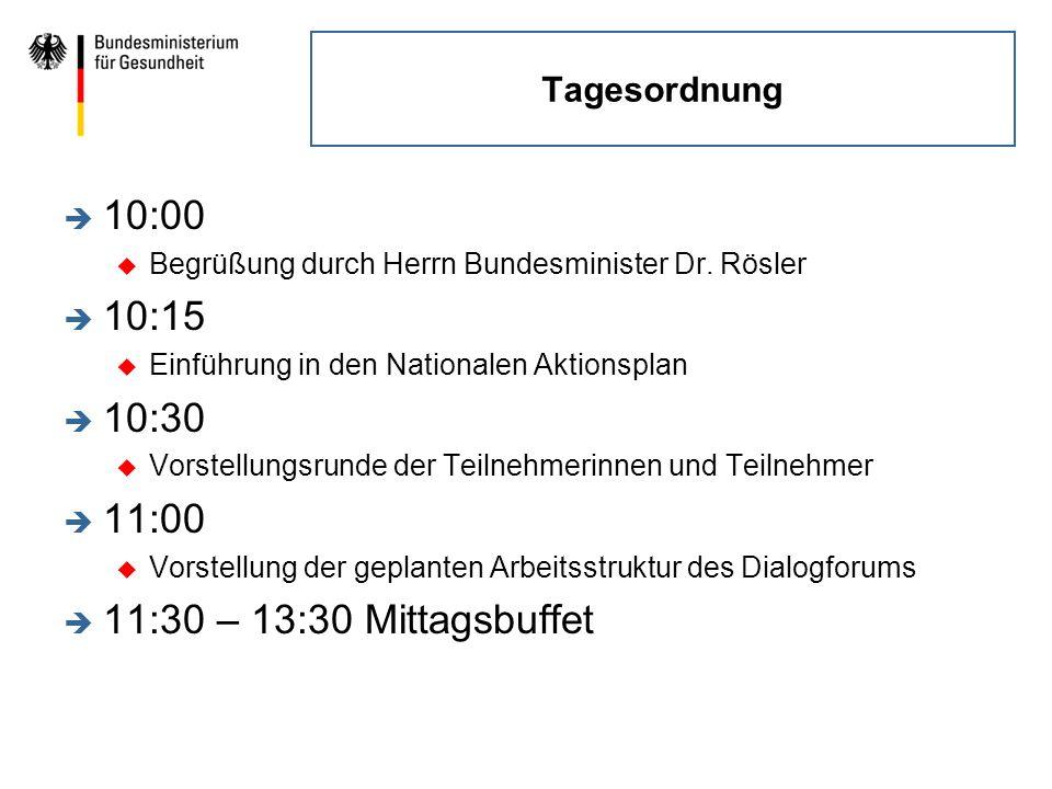 Tagesordnung è 10:00 u Begrüßung durch Herrn Bundesminister Dr. Rösler è 10:15 u Einführung in den Nationalen Aktionsplan è 10:30 u Vorstellungsrunde