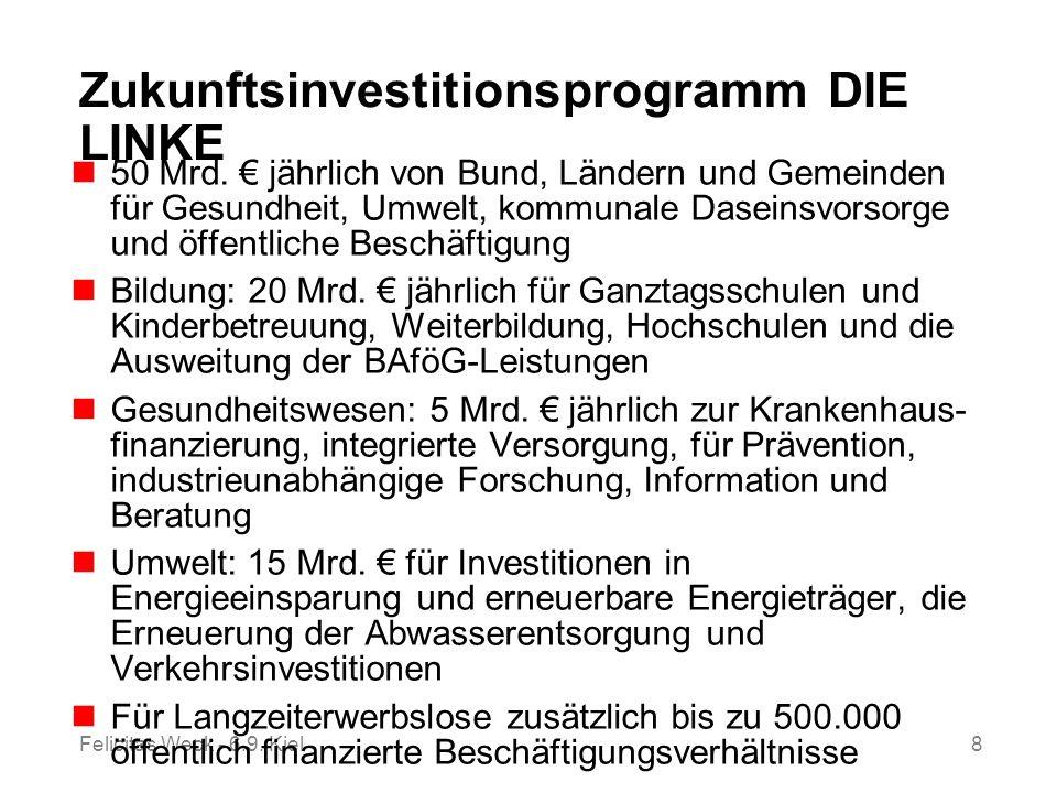Felicitas Weck - 6.9. Kiel8 Zukunftsinvestitionsprogramm DIE LINKE 50 Mrd. jährlich von Bund, Ländern und Gemeinden für Gesundheit, Umwelt, kommunale