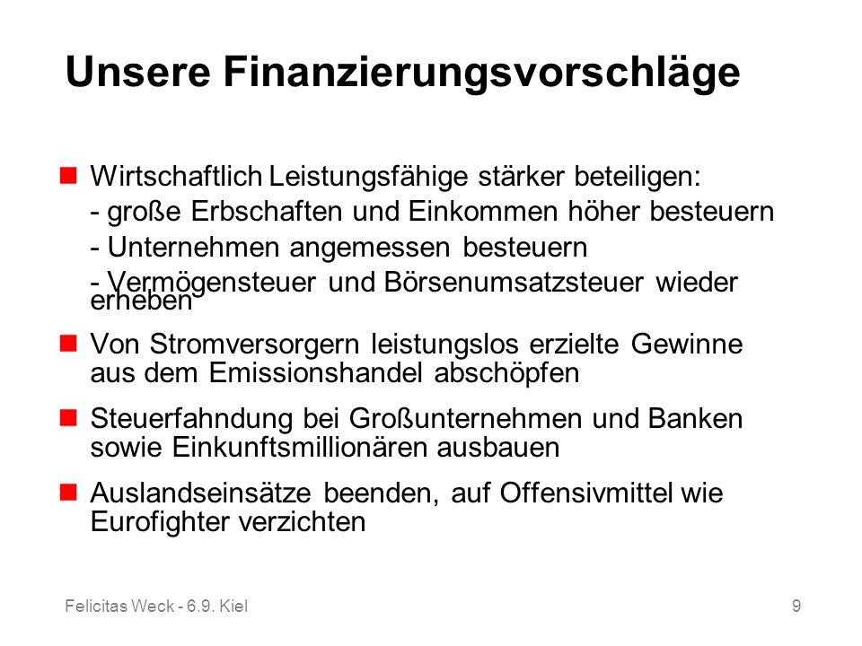 Felicitas Weck - 6.9. Kiel9 Unsere Finanzierungsvorschläge Wirtschaftlich Leistungsfähige stärker beteiligen: - große Erbschaften und Einkommen höher
