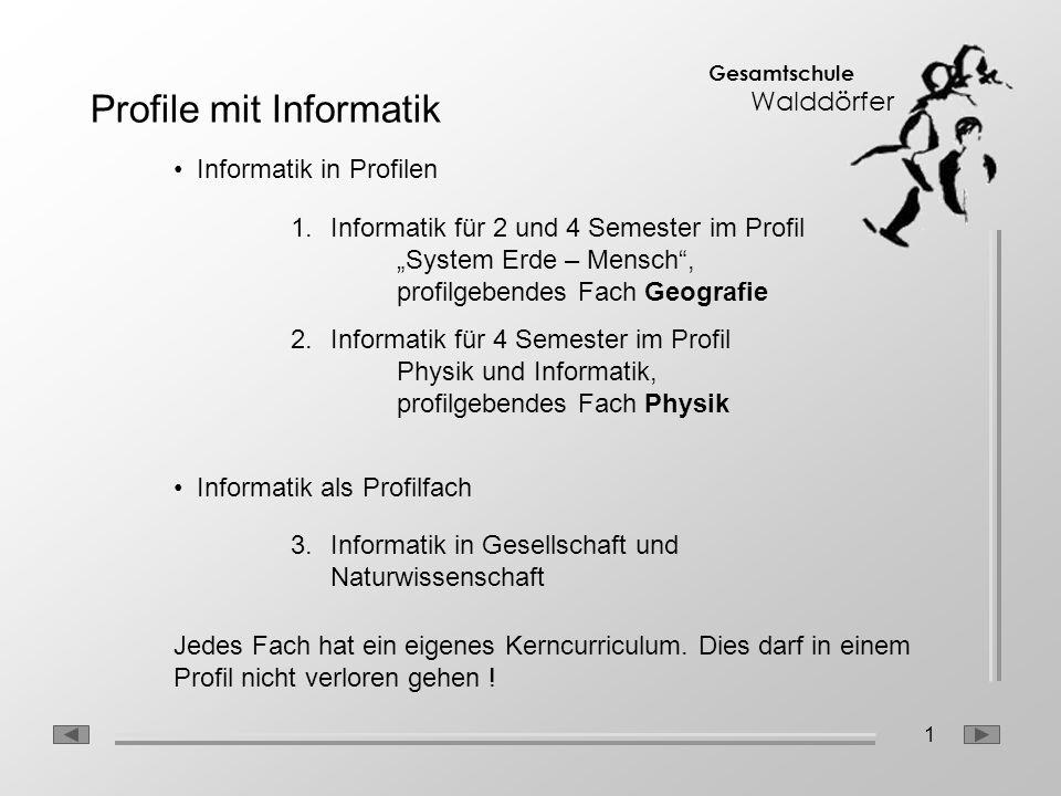 1 Gesamtschule Walddörfer Profile mit Informatik Informatik in Profilen Informatik als Profilfach 1.Informatik für 2 und 4 Semester im Profil System E