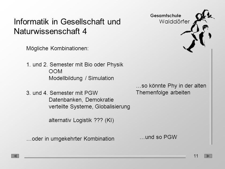11 Gesamtschule Walddörfer Mögliche Kombinationen: 1. und 2. Semester mit Bio oder Physik OOM Modellbildung / Simulation 3. und 4. Semester mit PGW Da
